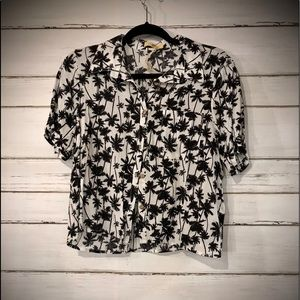Love Notes Palm Tree Button up Shirt LARGE